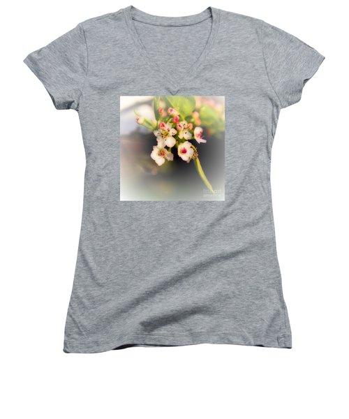 Cherry Blossom Flowers Women's V-Neck (Athletic Fit)