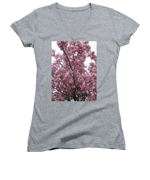 Cherry Blossoms 2 Women's V-Neck (Athletic Fit)