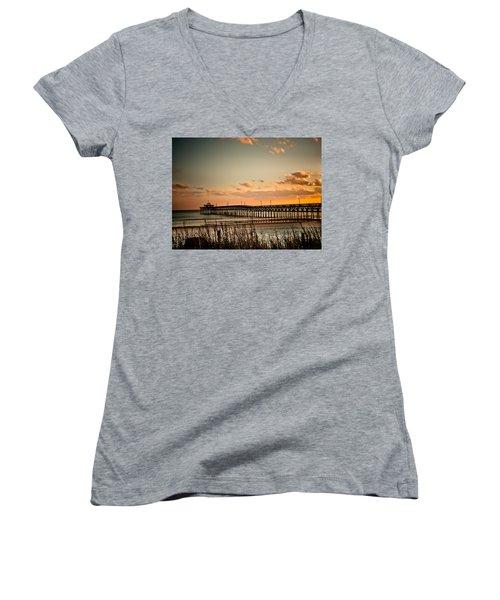 Cherry Grove Pier Myrtle Beach Sc Women's V-Neck T-Shirt (Junior Cut) by Trish Tritz