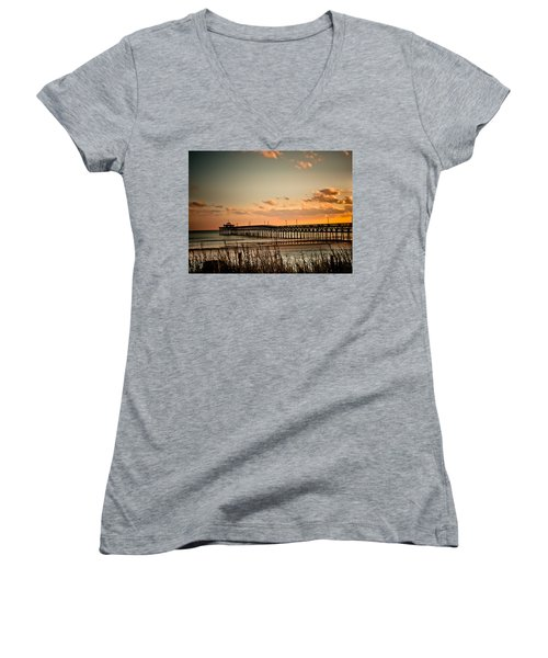 Cherry Grove Pier Myrtle Beach Sc Women's V-Neck T-Shirt