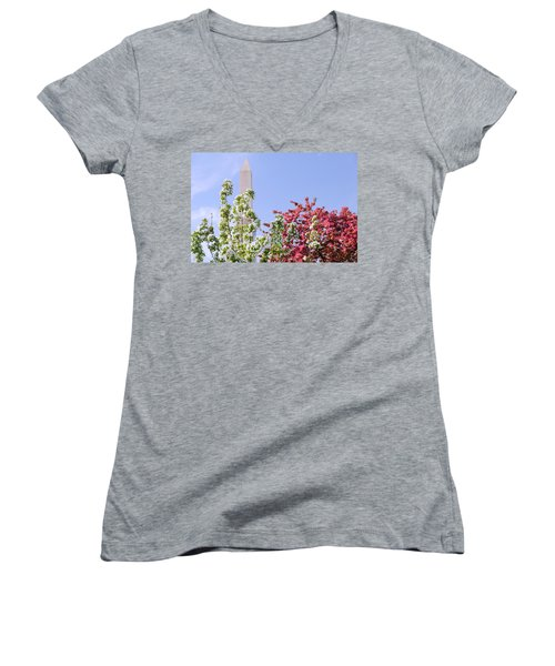 Women's V-Neck T-Shirt (Junior Cut) featuring the photograph Cherry Trees And Washington Monument Four by Mitchell R Grosky