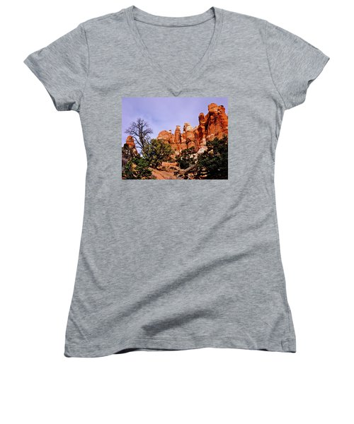 Chesler Park Pinnacles Women's V-Neck T-Shirt (Junior Cut) by Ed  Riche