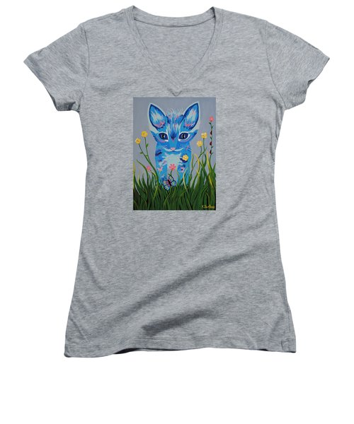 Women's V-Neck T-Shirt (Junior Cut) featuring the painting Chibi by Kathleen Sartoris