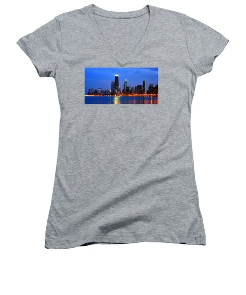 Chicago Dusk Skyline Hancock Women's V-Neck