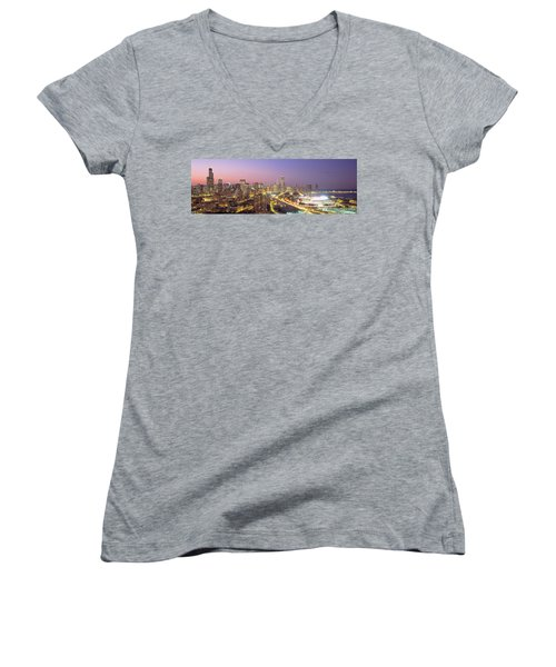 Chicago, Illinois, Usa Women's V-Neck T-Shirt (Junior Cut) by Panoramic Images