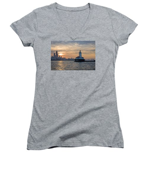 Chicago Lighthouse And Skyline Women's V-Neck (Athletic Fit)