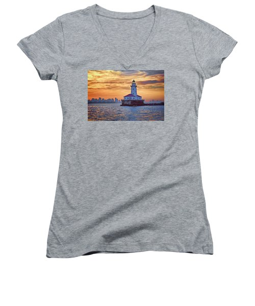 Chicago Lighthouse Impression Women's V-Neck (Athletic Fit)