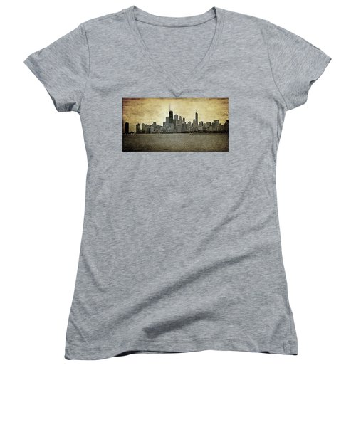 Chicago On Canvas Women's V-Neck (Athletic Fit)
