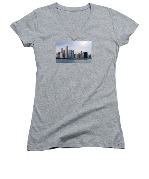 Women's V-Neck T-Shirt (Junior Cut) featuring the photograph Chicago Panorama by Milena Ilieva