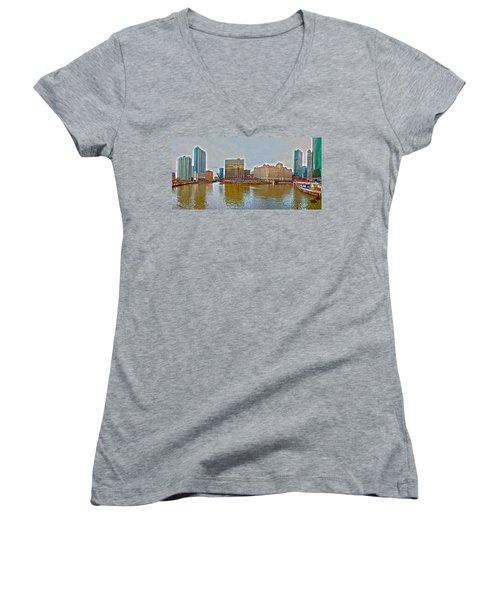 Women's V-Neck T-Shirt (Junior Cut) featuring the photograph Chicago Skyline And Streets by Alex Grichenko