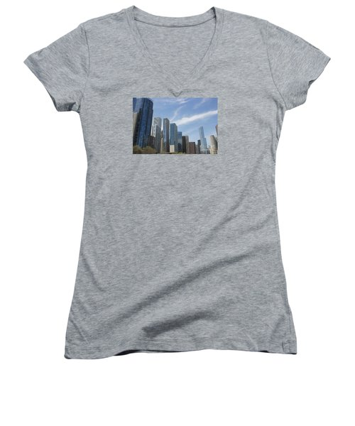Chicago Skyscrapers Women's V-Neck T-Shirt (Junior Cut) by The Art of Alice Terrill