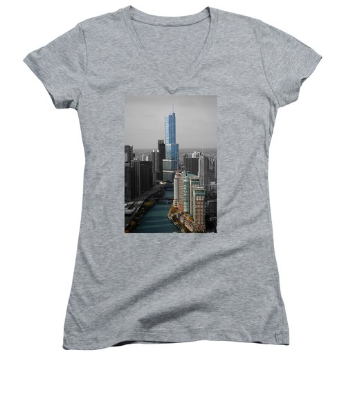Chicago Trump Tower Blue Selective Coloring Women's V-Neck T-Shirt (Junior Cut) by Thomas Woolworth