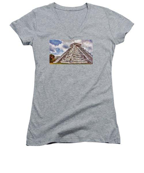 Chichen Itza Women's V-Neck T-Shirt