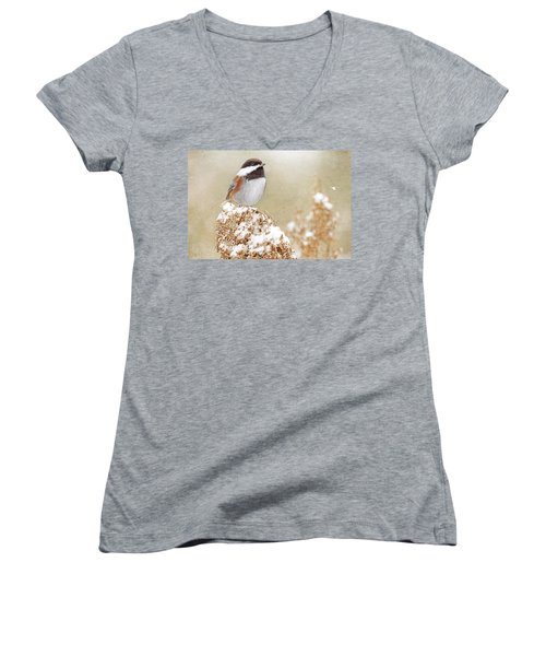 Women's V-Neck T-Shirt (Junior Cut) featuring the photograph Chickadee And Falling Snow by Peggy Collins