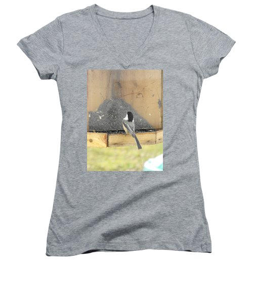 Chickadee Eating Lunch Women's V-Neck (Athletic Fit)