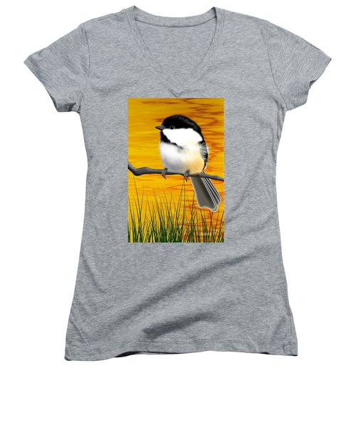Chickadee On A Branch Women's V-Neck (Athletic Fit)