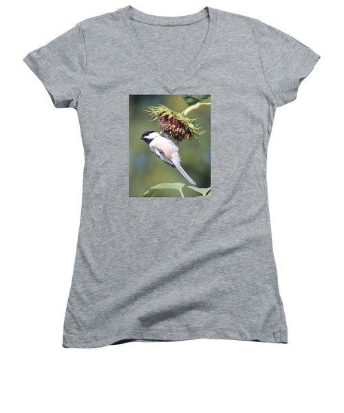 Chickadee On Sunflower Women's V-Neck T-Shirt (Junior Cut) by Lucinda VanVleck