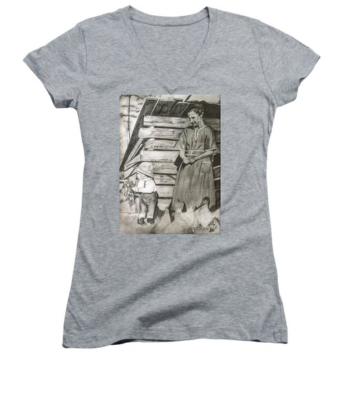 Chicken Coop - Woman And Son - Feeding Chickens Women's V-Neck