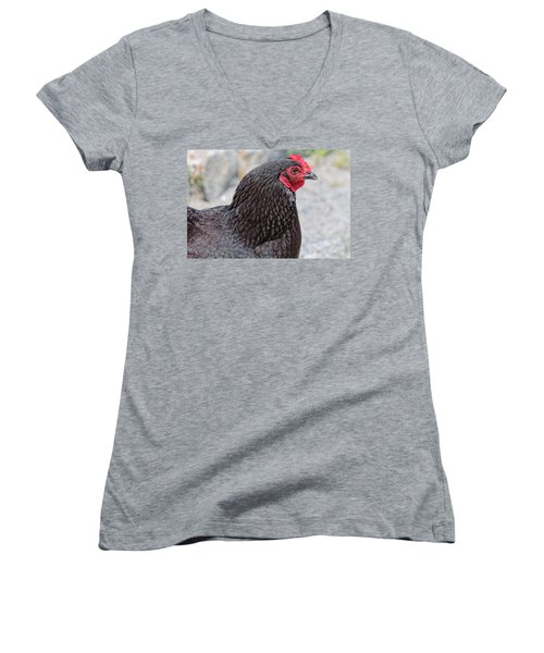 Chicken Profile Women's V-Neck T-Shirt (Junior Cut) by Denyse Duhaime