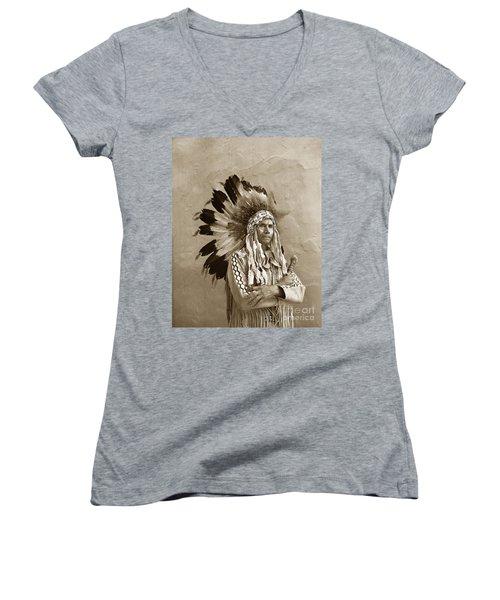 Chief Red Eagle Carmel California Circa 1940 Women's V-Neck