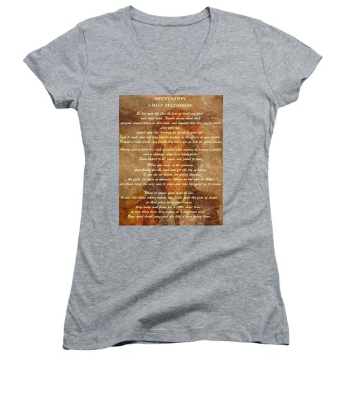 Women's V-Neck featuring the digital art Chief Tecumseh Poem by Dan Sproul