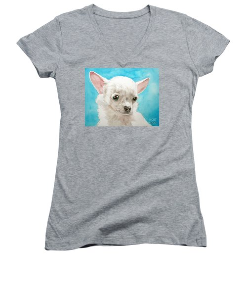Chihuahua Dog White Women's V-Neck