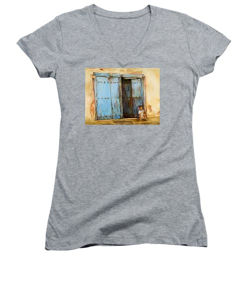 Child Sitting In Old Zanzibar Doorway Women's V-Neck T-Shirt