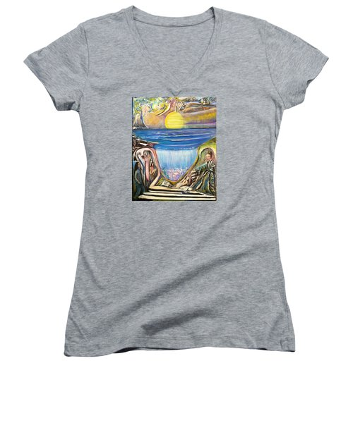 Children Of The Sun Women's V-Neck T-Shirt (Junior Cut) by Kicking Bear  Productions