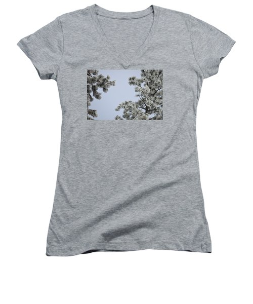 Chill Tree Women's V-Neck T-Shirt (Junior Cut) by Greg Patzer
