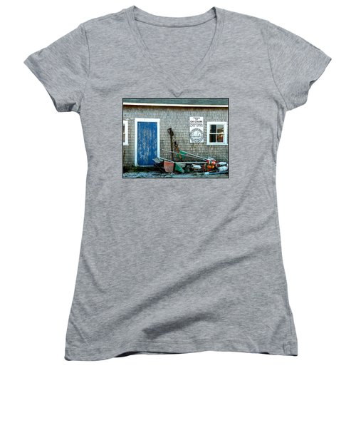 Chilmark Dock Shack Women's V-Neck T-Shirt (Junior Cut) by Kathy Barney