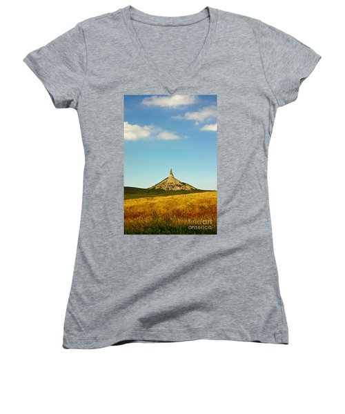 Chimney Rock Nebraska Women's V-Neck T-Shirt