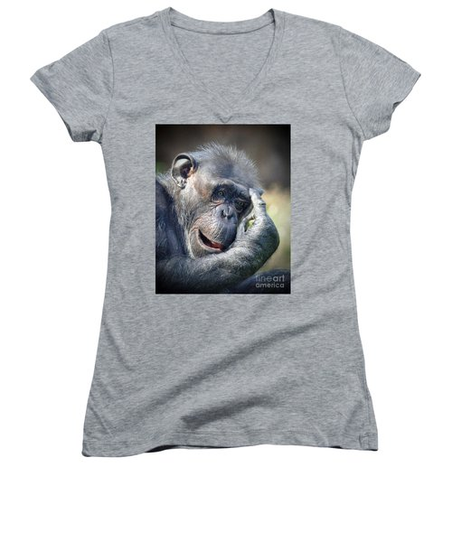 Women's V-Neck T-Shirt (Junior Cut) featuring the photograph Chimpanzee Thinking by Savannah Gibbs