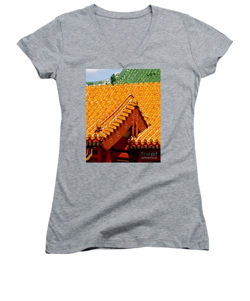 Women's V-Neck T-Shirt (Junior Cut) featuring the photograph China Pavilion by Joy Hardee