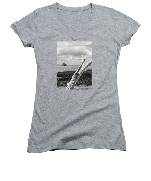 Chincoteague Oystershack Bw Vertical Women's V-Neck T-Shirt (Junior Cut) by Photographic Arts And Design Studio