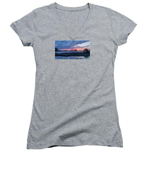 Chincoteague Wildlife Refuge Dawn Women's V-Neck T-Shirt (Junior Cut) by Photographic Arts And Design Studio