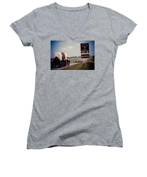 Chisholm Trail Centennial Cattle Drive Women's V-Neck T-Shirt (Junior Cut) by Toni Hopper