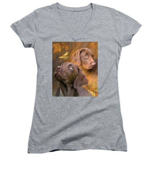 Women's V-Neck featuring the mixed media Chocolate Lab by Carol Cavalaris