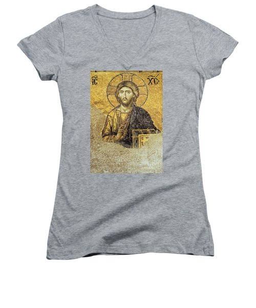 Christ Pantocrator-detail Of Deesis Mosaic Hagia Sophia-judgement Day Women's V-Neck (Athletic Fit)