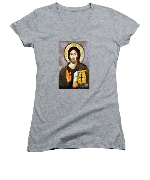 Women's V-Neck T-Shirt (Junior Cut) featuring the mixed media Christ Pantocrator Of Sinai by Dragica  Micki Fortuna