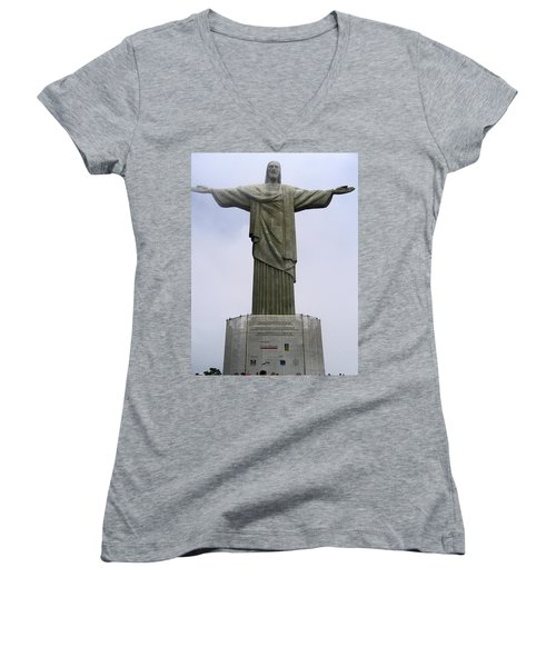 Christ The Redeemer Rio Women's V-Neck T-Shirt (Junior Cut) by Jay Milo