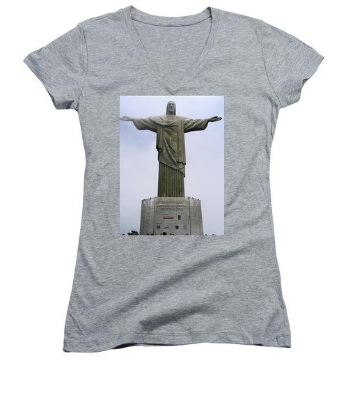 Christ The Redeemer Rio Women's V-Neck T-Shirt (Junior Cut)