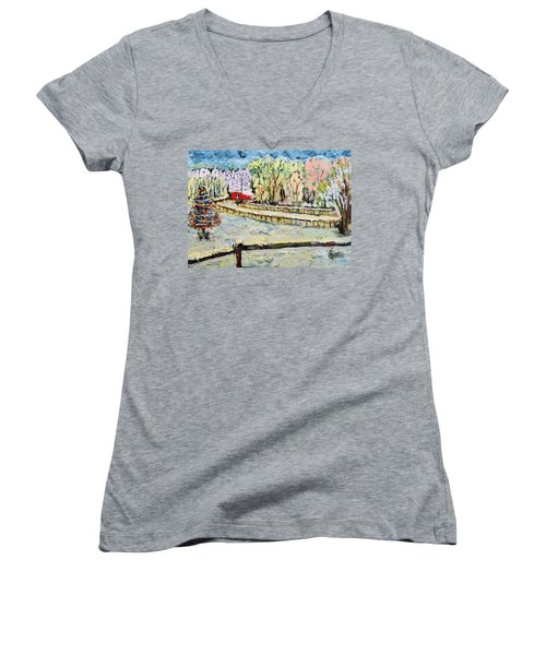 Christmas At Cissy's Farm Women's V-Neck T-Shirt (Junior Cut) by Michael Daniels