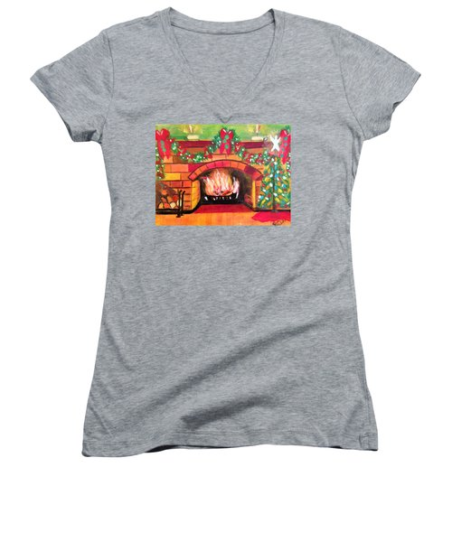 Christmas At The Cabin Women's V-Neck T-Shirt