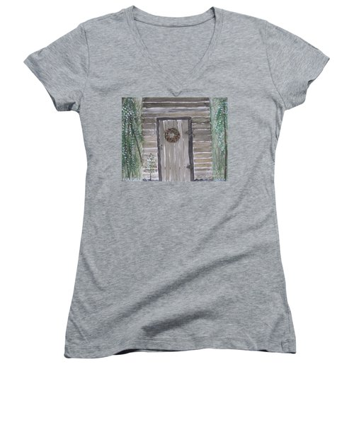 Christmas Card No.3 Rustic Cabin Women's V-Neck T-Shirt (Junior Cut)