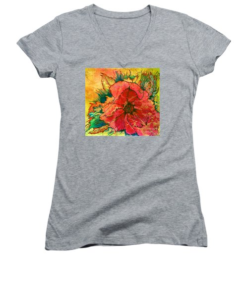 Christmas Flower Women's V-Neck