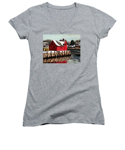 Christmas In Rockport Women's V-Neck T-Shirt