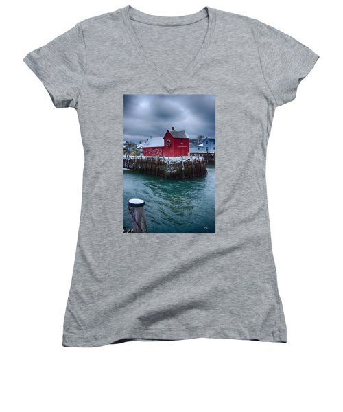 Christmas In Rockport Massachusetts Women's V-Neck