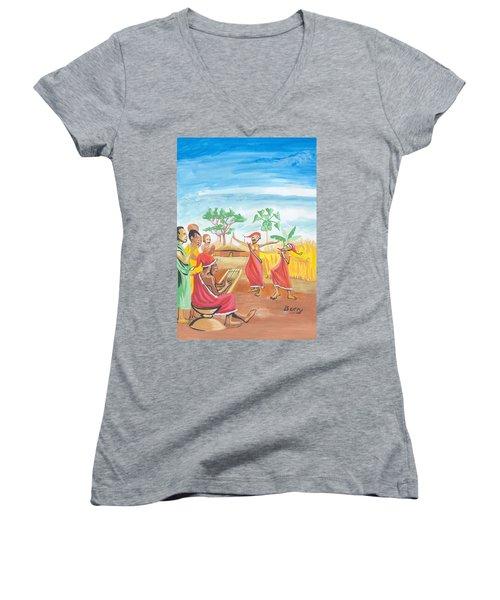 Christmas In Rwanda Women's V-Neck T-Shirt (Junior Cut) by Emmanuel Baliyanga