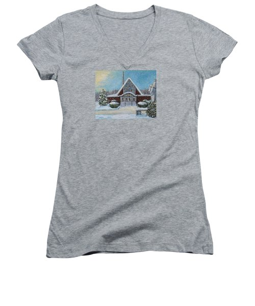Christmas Morning At Our Lady's Church Women's V-Neck T-Shirt (Junior Cut) by Rita Brown