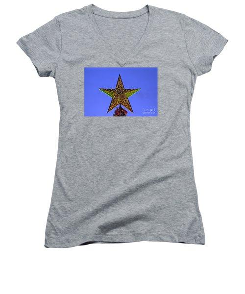 Christmas Star During Dusk Time Women's V-Neck